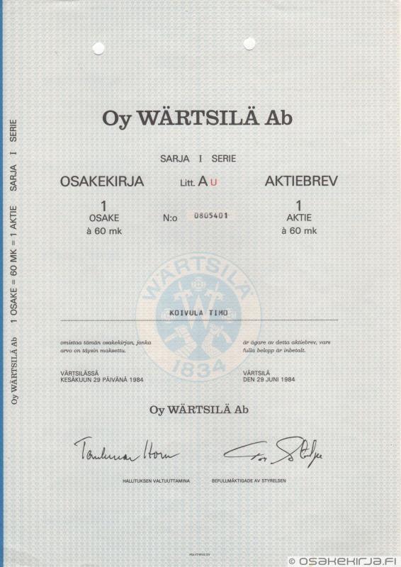 Wärtsilä Oy Ab - Osakekirja.fi