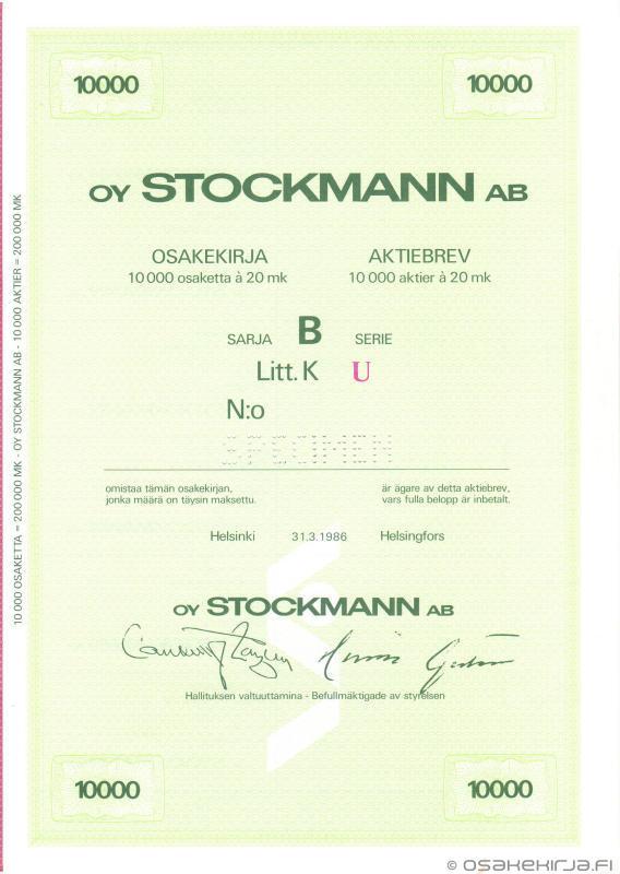 Stockmann Tampere Laukut : Stockmann oy ab osakekirja fi
