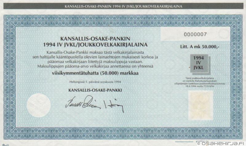Kansallis-Osake-Pankki - Osakekirja.fi