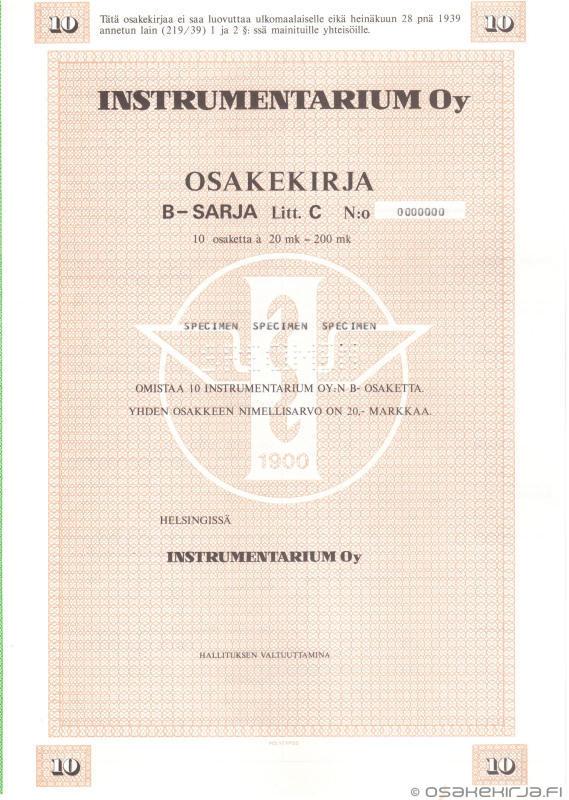 Instrumentarium Oy - Osakekirja.fi