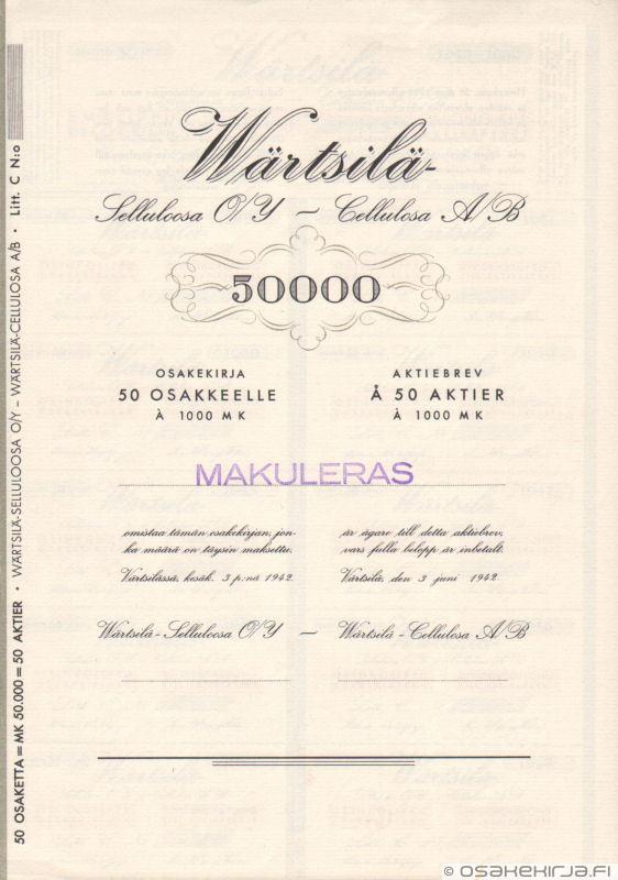 Wärtsilä-Selluloosa O/Y - Celluloosa Ab - Osakekirja.fi